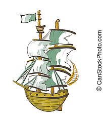 couleur, main, dessiné, bateau