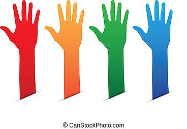 couleur, mains, étiquette, haut, vide