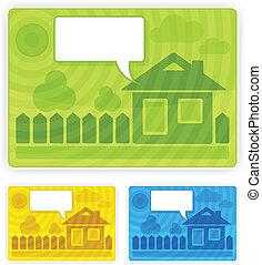 couleur, maison, autocollant, parole