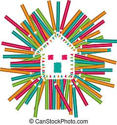 couleur, maison, crayons