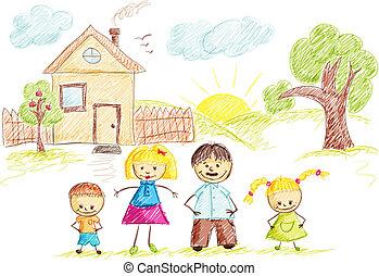 couleur, maison, croquis, famille
