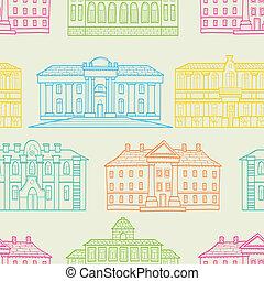 couleur, maisons, contour, seamless