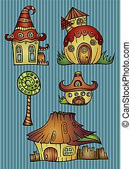 couleur, maisons, ensemble, dessin animé, vecteur