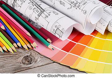 couleur, maisons, palette, projets