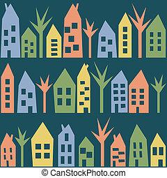 couleur, maisons, seamless, modèle