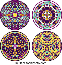 couleur, mandala, ensemble, 4