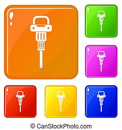 couleur, marteau, ensemble, pneumatique, icônes