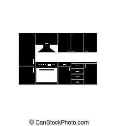 couleur, meubles, gris, illustration, cuisine