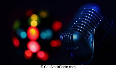 couleur microphone, lumière, taches, lit, retro, fond, coloré, rotations