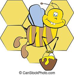 couleur, miel, page, abeille