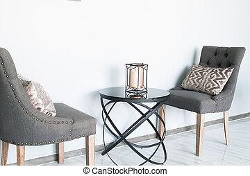 couleur, moderne, gris, chaises, conception, table-interior