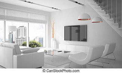 couleur, moderne, rendre, intérieur, blanc, 3d