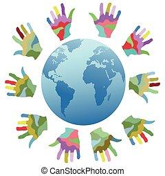 couleur, mondiale, peinture, autour de, mains