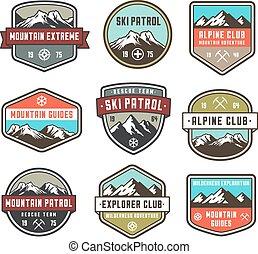 couleur, montagne, insignias, vecteur