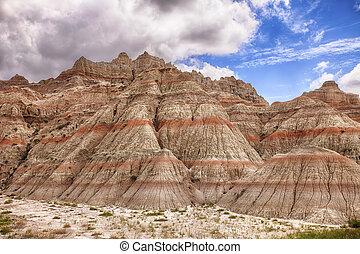 couleur, montagnes, dans, les, badlands