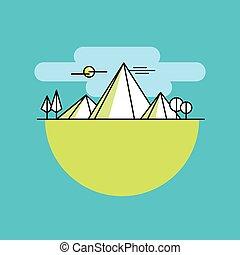 couleur, montagnes, ligne, vecteur, icône