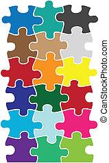 couleur, morceaux puzzle