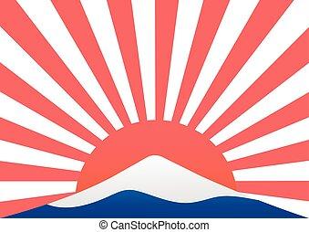 couleur, mt-fuji, montagne, vecteur, marine, design., japon...