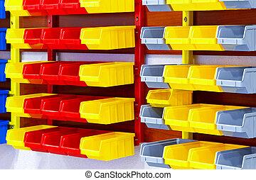 couleur, mur, étagères