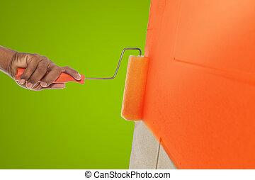 couleur, mur, peinture, rouleau, orange
