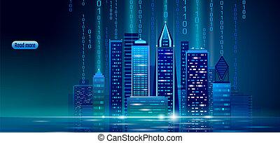 couleur, néon, cityscape., bleu, ville, concept., incandescent, vecteur, ligne, intelligent, intelligent, 3d, urbain, business, toile, illustration, automation, bannière, bâtiment, technology., avenir, nuit, futuriste