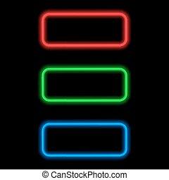 couleur, néon, différent, text., cadres
