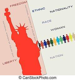 couleur, national, jour, femmes