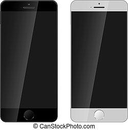 couleur, noir, blanc,  smartphone, moderne