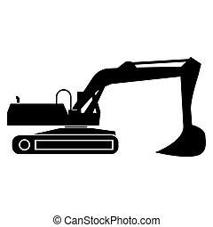 couleur, noir, excavateur, icône