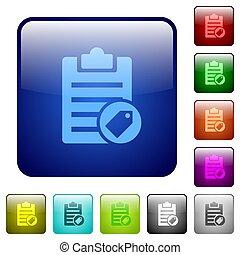 couleur note, carrée, étiquetage, boutons