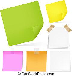 couleur, notes, papier, ensemble