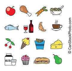 couleur nourriture, ensemble, boisson, icône