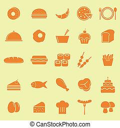 couleur nourriture, fond, jaune, icônes
