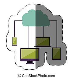 couleur, nuage, autocollant, réseau, service