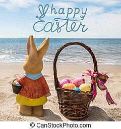 couleur, oeufs pâques, océan, panier, plage, lapin, heureux