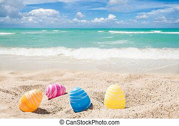 couleur, oeufs pâques, océan, plage, lapin