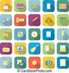 couleur, ombre, divertissement, long, icônes