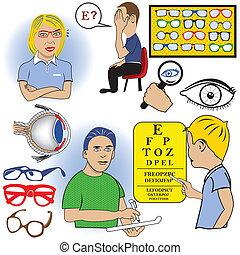 couleur, ophtalmologie, ensemble
