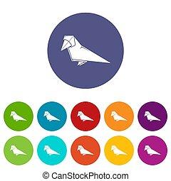 couleur, origami, ensemble, oiseau, icônes