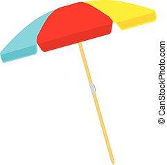 couleur parapluie, isolé, illustration, arrière-plan., vecteur, plage blanche