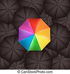 couleur, parapluie, noir, contre, parapluies