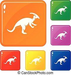 couleur, parazavrolofus, vecteur, ensemble, icônes