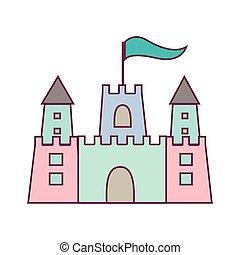 couleur pastel, sandcastle, icône, à, drapeau