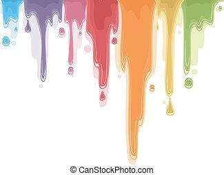 couleur, peinture, égouttement, arc-en-ciel