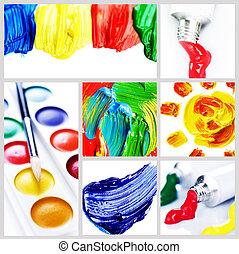 couleur, peinture, collage