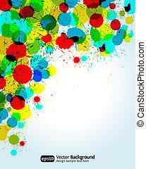 couleur, peinture, eclabousse, coin, arrière-plan., vecteur, illustration