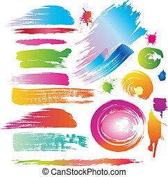 couleur, peinture, ligne, brosses, eclabousse