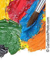 couleur, peintures, blanc, brosse