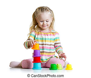 couleur, peu, jouer, girl, jouets