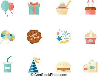 couleur, plat, anniversaire, -, icônes